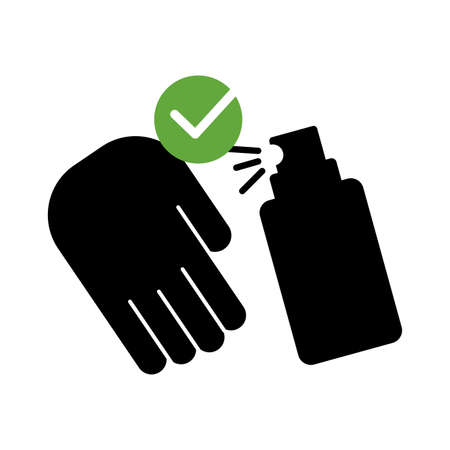 hand with spray bottle medical product silhouette style vector illustration design