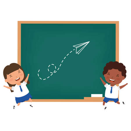 cute little students interracial couple charactersvector illustration design Иллюстрация