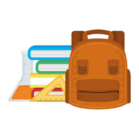 schoolbag with books and supplies vector illustration design