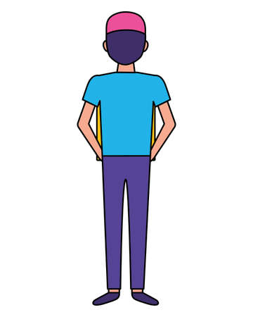 back view man character on white background vector illustration