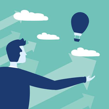 businessman air balloon arrow growth business success vector illustration