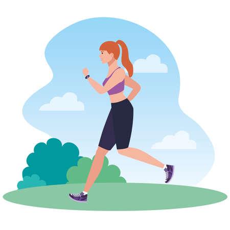 woman running in landscape, woman in sportswear jogging, female athlete, sporty person vector illustration design