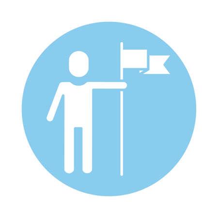 avatar silhouette with success flag block style vector illustration design Çizim