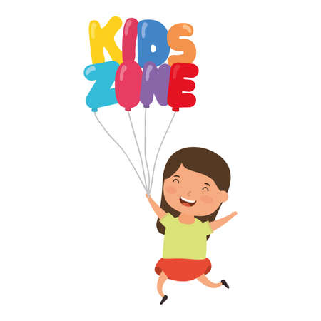 cute little girl with kids zone balloons helium character vector illustration design