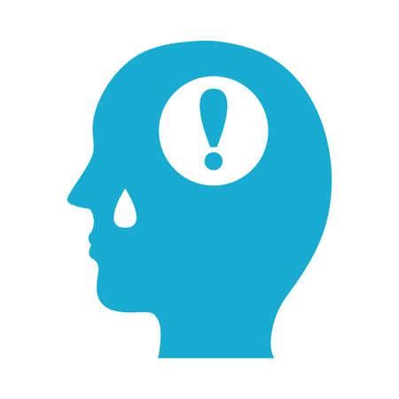 profile with alert symbol mental health silhouette style icon vector illustration design