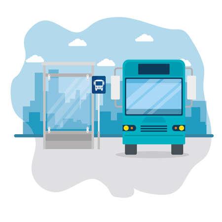 bus on bus stop, public urban transport of cityscape vector illustration design
