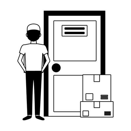 back view man with boxes fast delivery vector illustration 일러스트