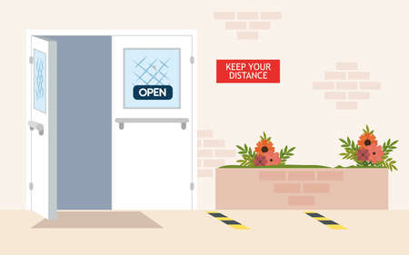entrance, exterior construction, with label hanging of keep your distance, prevention coronavirus covid 19 vector illustration design