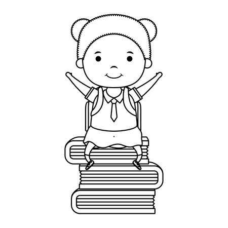 cute little student girl seated in books vector illustration design Banque d'images - 150888128
