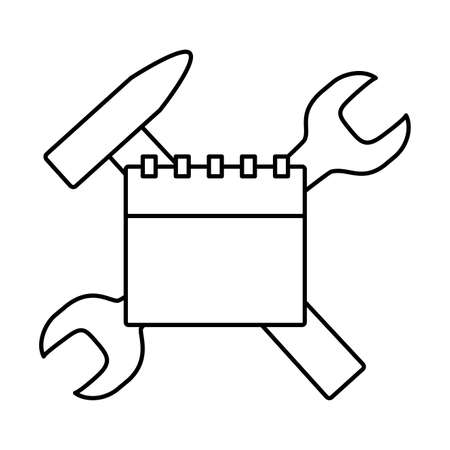 calendar and wrench hammer tools labour day vector illustration 일러스트
