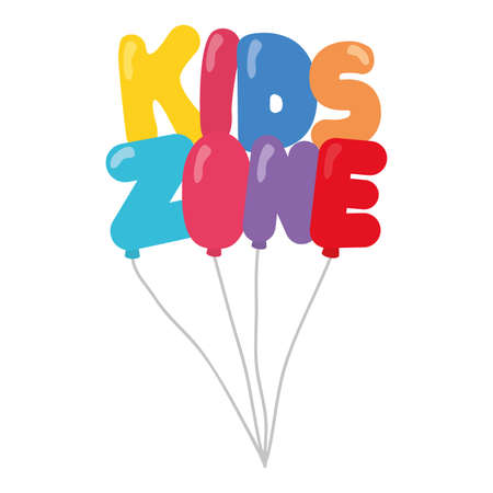 kids zone lettering with balloons helium vector illustration design