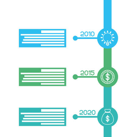 business infographic with years icons vector illustration Vettoriali