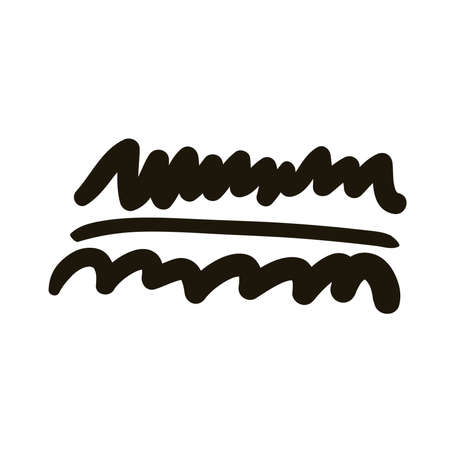 horizontal line and waves creative design with brush stroke silhouette style vector illustration design 免版税图像 - 150885247