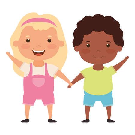 cute little interracial kids couple comic characters vector illustration design
