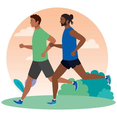 men running in landscape, men in sportswear jogging, male athlete, sporty persons vector illustration design Иллюстрация