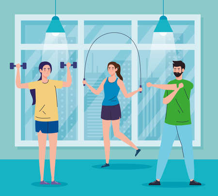 exercise at home, people practicing sport, using the house as a gym vector illustration design