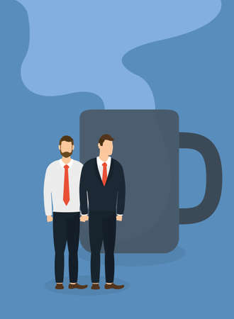 Businessmen with coffee mug design, Office business management and corporate theme Vector illustration