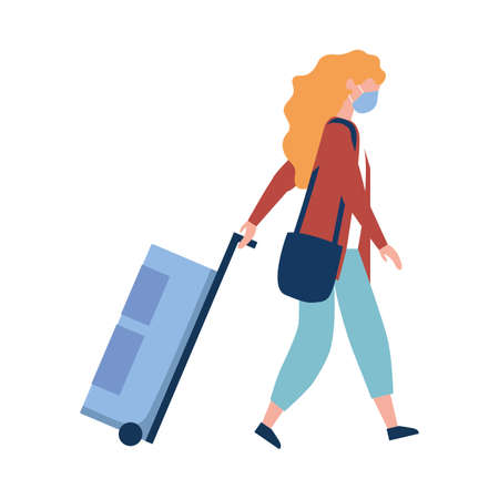 Woman with medical mask and bag design, Cancelled flights travel and airport theme Vector illustration