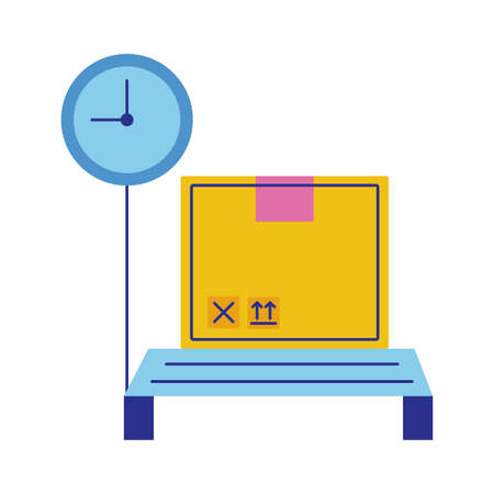scale measure with box carton flat style vector illustration design