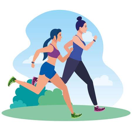 women running in landscape, women in sportswear jogging, female athlete, sporty persons vector illustration design