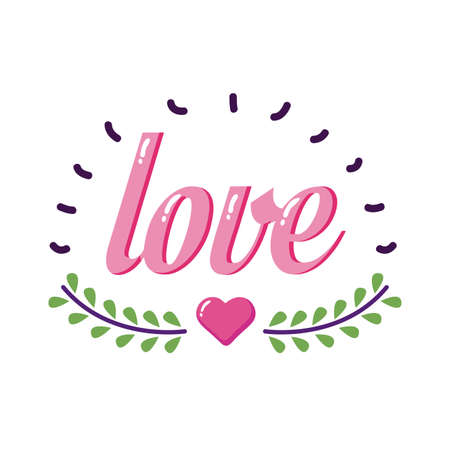 Love word with heart and leaves wreath flat style icon design of love passion and romantic theme Vector illustration Ilustração