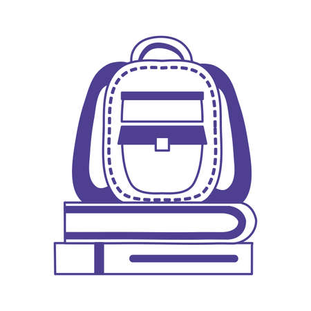 schoolbag supply with pile books vector illustration design Banque d'images - 150888067