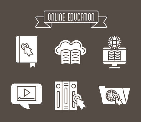 bundle of education online set icons vector illustration design Banque d'images - 150888073