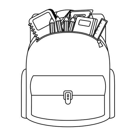 school bag with set supplies vector illustration design