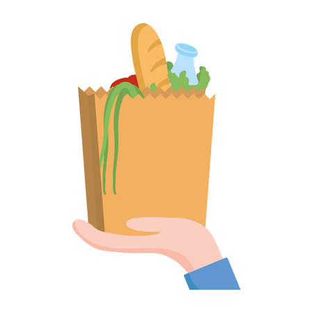 hand holding bag with bread vegetables and milk bottle design of Shopping commerce and market theme Vector illustration
