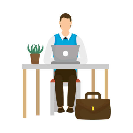 Businessman with laptop on desk design, Man business management corporate job occupation and worker theme Vector illustration