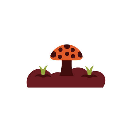 cute fungus plant flat style vector illustration design