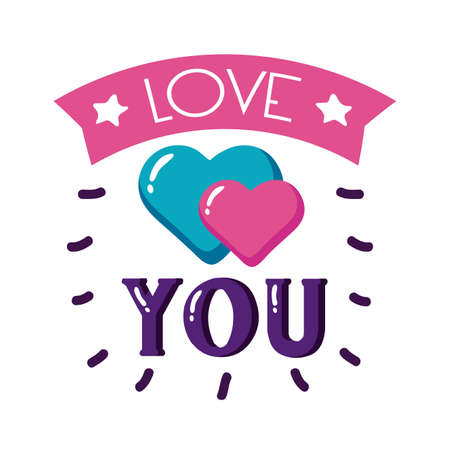 Love you text with hearts flat style icon design of Passion and romantic theme Vector illustration
