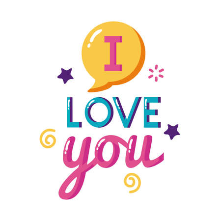 I love you text with bubble flat style icon design of Passion and romantic theme Vector illustration
