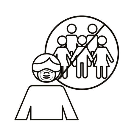man using face mask with avoid crowds line style icon vector illustration design