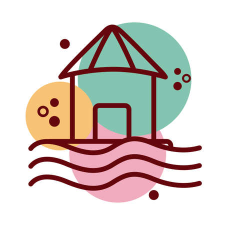 house facade floating in water line and color style icon vector illustration design Ilustração