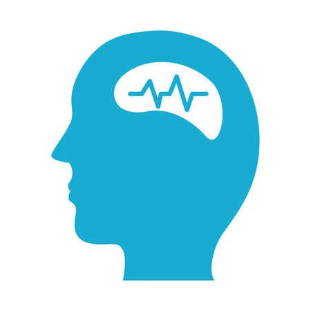 profile with brain mental health silhouette style icon vector illustration design