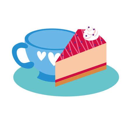 sweet cake portion dessert with beverage cup vector illustration design