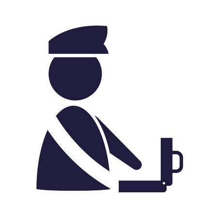 silhouette immigration officer with suitcase signal airport vector illustration design