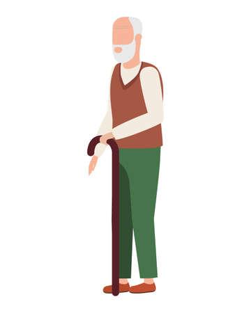cute old man comic character vector illustration design