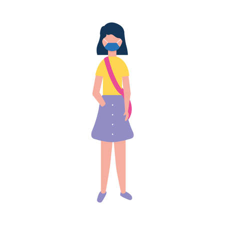 woman with mask and purse design of medical care and covid 19 virus theme Vector illustration Çizim