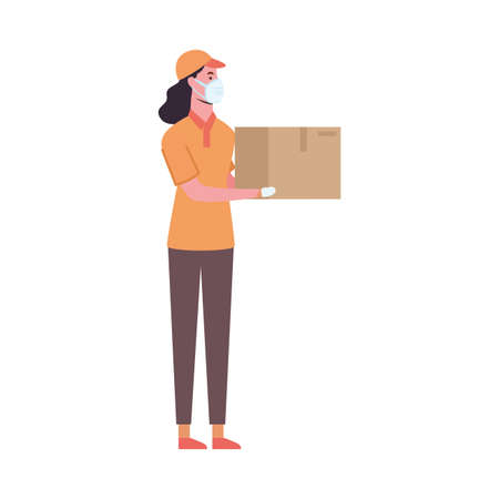 delivery woman with mask and box design of medical care and covid 19 virus theme Vector illustration