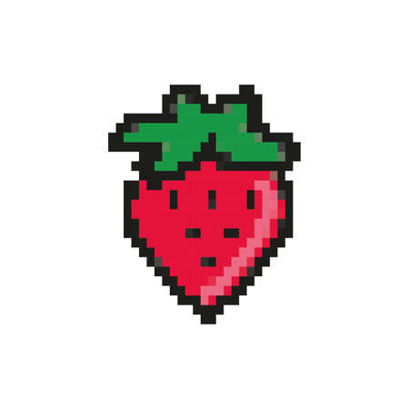 strawberry fruit 8 bits pixelated style icon vector illustration design