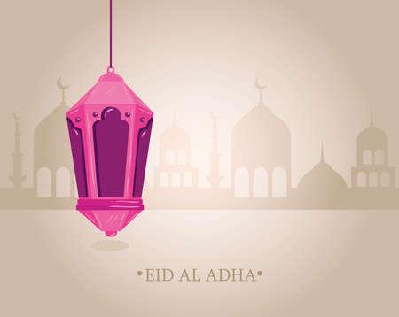eid al adha mubarak, happy sacrifice feast, with lantern hanging and silhouette arabia city vector illustration design