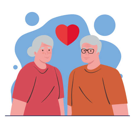 elderly couple, old woman and old man with heart, happy granddaddy and grandmother vector illustration design Illustration