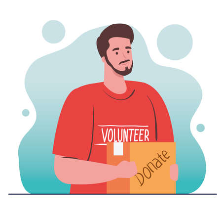 man volunteer holding donation box, charity and social care donation concept vector illustration design