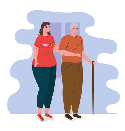 volunteer woman using red shirt with old man, charity and social care donation concept vector illustration design