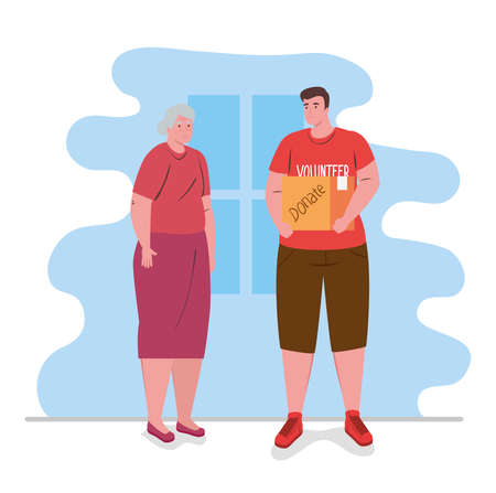 old woman with man volunteer holding donation box, charity and social care donation concept vector illustration design