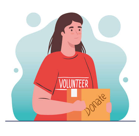 woman volunteer holding donation box, charity and social care donation concept vector illustration design Çizim