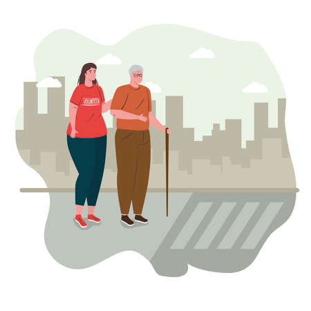 volunteer woman with old man helping cross the street, charity and social care donation concept vector illustration design