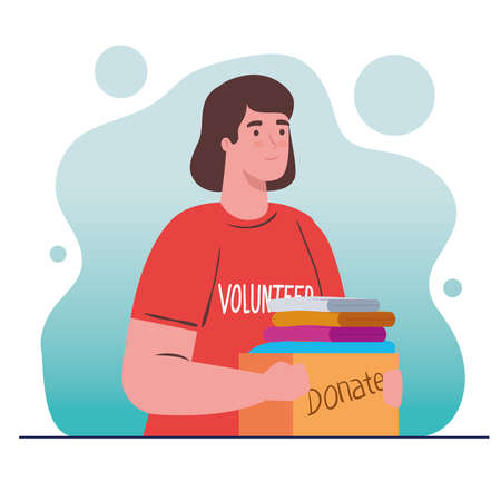 woman volunteer holding donation box with clothes, charity and social care donation concept vector illustration design